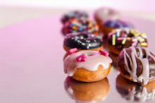 Bunch Of Different Miniature / Mini Donuts Beautifully Decorated