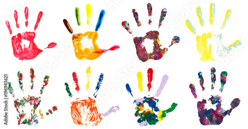Tuinposter Vormen Set of colorful hand prints, isolated on white background. Collection of color art hand painted.
