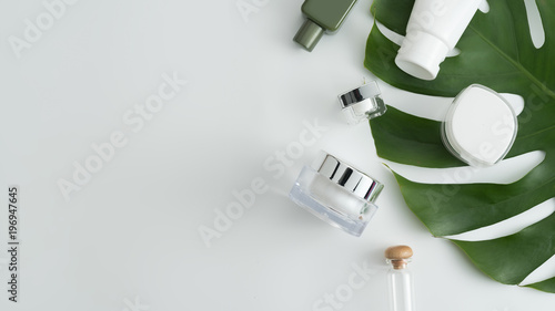 Garden Poster Spa White cosmetic products and green leaves on white background. Natural beauty products for branding mock-up concept.