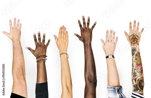 Diversity hands raised up gesture Tablou Canvas