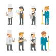 Flat design restaurant staffs