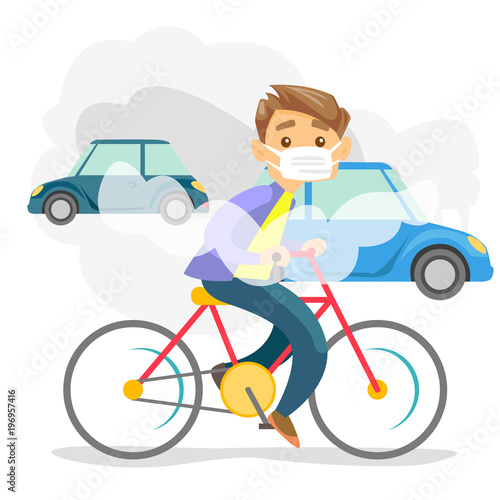 Fotografie, Obraz  Young caucasian white man in gas mask riding a bicycle on the background of car with co2 emissions