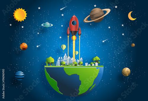 papierowy-sztuka-styl-rakietowy-latanie-nad-ziemia-zaczyna-up-pojecie-mieszkanie-stylowa-wektorowa-ilustracja