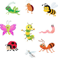 Naklejka cute insect collection set