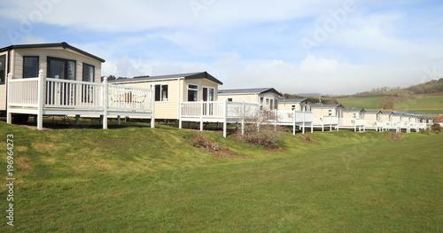 Obraz Static caravan park in Ladram Bay near Sidmouth in Devon - fototapety do salonu
