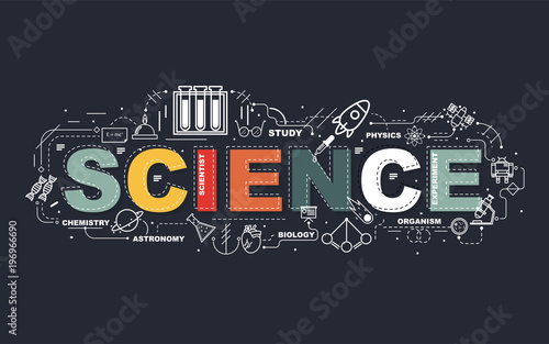 Design Concept Of Word SCIENCE Website Banner.