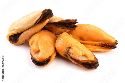 five mussel without shell isolated on white background Fototapet