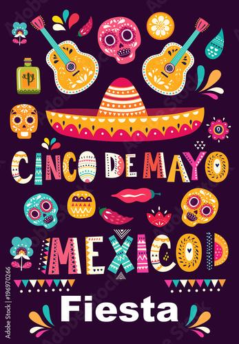 Fototapety Muzyka illistration-with-symbols-of-mexico