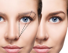 Female Face Before And After Eyebrows Correction.