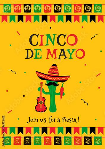 stylish cinco de mayo fiesta invitation poster template festive