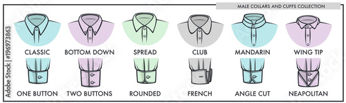 Leinwand Poster Male collars and cuffs of classic shirts collection