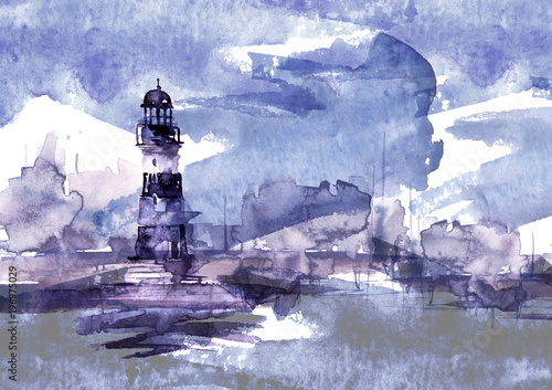Watercolor illustration of lighthouse  Storm on the sea