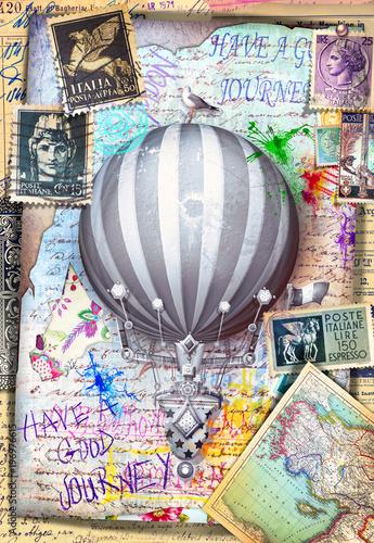 Imagination Collage,cartoline e manoscritti vintage con francobolli e mongolfiera