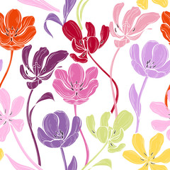 Fototapeta Floral seamless pattern with colorful tulips on a white background. Vector illustration. Abstract nature background.