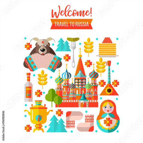 Fotografie, Tablou  Welcome to Russia. Travelling to Russia. Vector illustration.