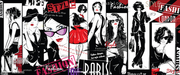 Fashion collage with freehand drawings