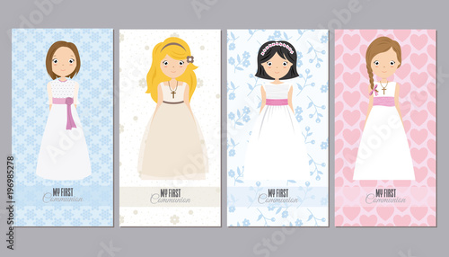 Fotografie, Obraz  communion cards girls