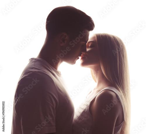 Fotografie, Obraz  Young loving couple on white background