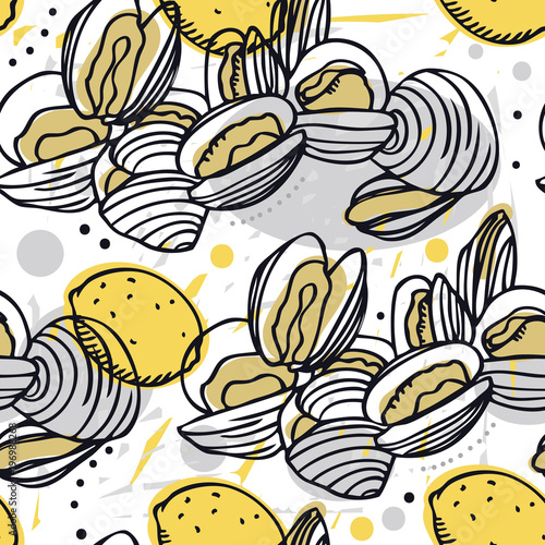 Fényképezés Food Collection Delicious clams and lemons Seamless pattern