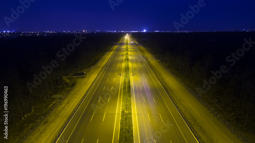 Foto op Aluminium Nacht snelweg Aerial View Highway road traffic at night