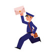 Cartoon postman cheerful character running holding letter or mail and shouder bag. Man in professional blue uniform peaked cap. Delivery service worker, mailman. Vector illustration