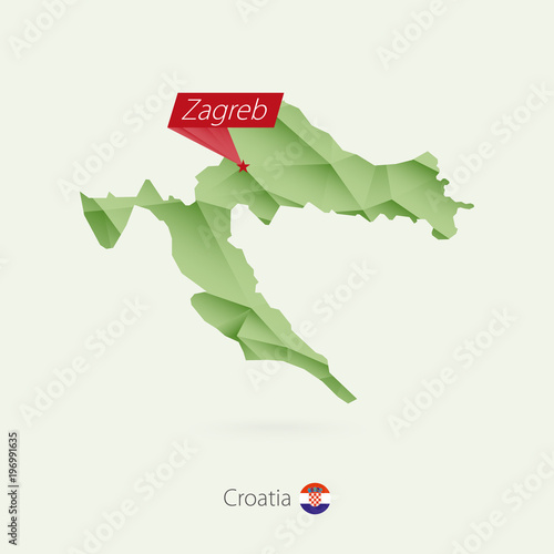 Poster Geometric animals Green gradient low poly map of Croatia with capital Zagreb