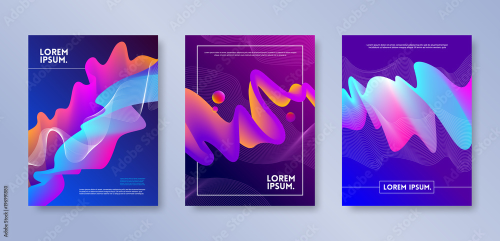 Fototapeta Set of cover design with abstract multicolored flow shapes. Vector illustration template. Universal abstract design for covers, flyers, banners, greeting card, booklet and brochure.