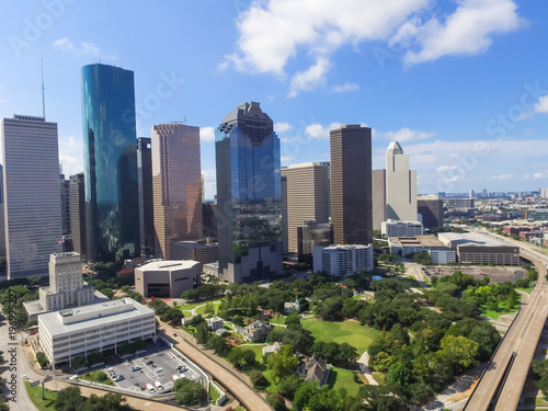 Keuken foto achterwand Kangoeroe Aerial view Houston downtown and Gulf Freeway (highway I45). Daytime cityscape with cloud blue sky.