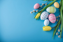 Colorful Easter Eggs With Yell...