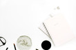 Leinwanddruck Bild - Female modern minimal blog composition with pink notebook on white background. Flat lay, top view.