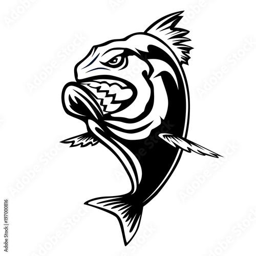 Fotografia, Obraz  Angry piranha fishing logo