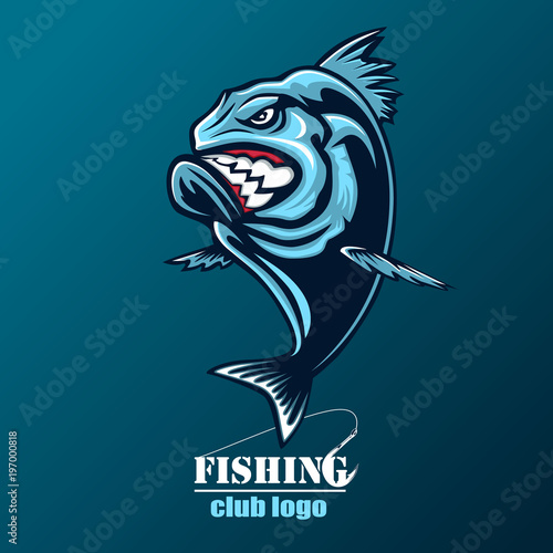 Photo  Angry piranha fishing logo