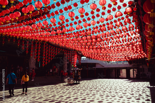 Territory Than Hou temple. Kuala Lumpur attraction. Travel to Malaysia. Religious background. Tourist landmark. City tour. Place of worship. Architecture concept. Chinese red lanterns decoration