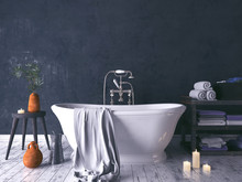 Rustic Bathroom With Old Woode...