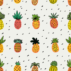 FototapetaSeamless sunny pineapple pattern. Decorative Pinapple with different textures in warm colors. Exotic fruits background For Fashion print textile fabric covers wallpapers wrap Vector Summer background