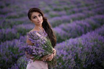 Fototapeta Lawenda Walking women in the field of lavender.Romantic women in lavender fields. Girl admires the sunset in lavender fields.