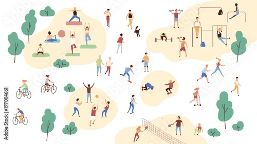 Fotografie, Tablou  Group of people performing sports activities at park - doing yoga and gymnastics exercises, jogging, riding bicycles, playing ball game and tennis