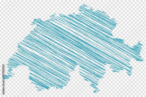 Fotografie, Obraz  Schweiz Landkarte Zeichnung in blau