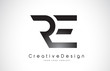 RE R E Letter Logo Design. Creative Icon Modern Letters Vector Logo.