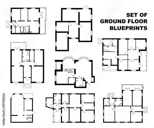 Big set of ground floor blueprints. Vector unfurnished floor plans for your design. Suburban house set.