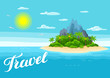 Illustration of tropical island in ocean. Landscape with ocean, palm trees and rocks. Travel background