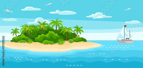 Poster Turquoise Illustration of tropical island in ocean. Landscape with ocean, palm trees and yacht. Travel background