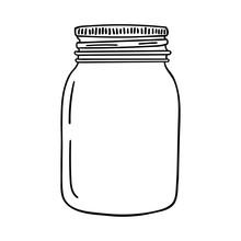 Hand Drawn Mason Jar. Contour Sketch. Vector
