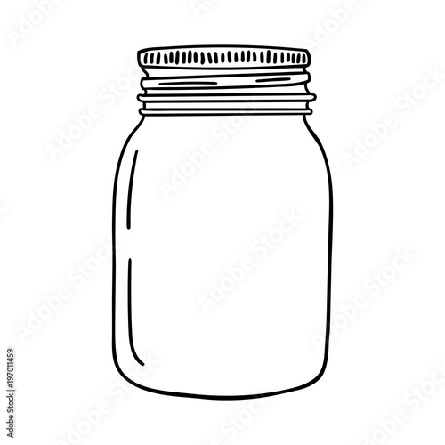 Fotografija Hand drawn mason jar. Contour sketch. Vector
