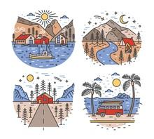 Set Of Touristic Or Travel Destinations And Landscapes With Mountains, Sea, River And Forest Trees. Road Trip Or Camper Van Journey Locations. Colorful Vector Illustration In Modern Line Art Style.