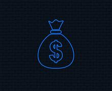 Neon Light. Money Bag Sign Ico...