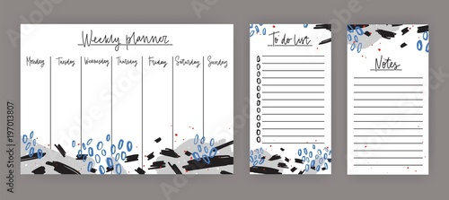 weekly planner with weekdays sheet for notes and to do list