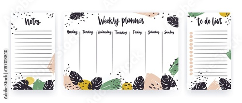 Obraz Creative weekly planner with week days, sheet for notes and to do list templates decorated with paint strokes and tropical monstera leaves. Modern scheduler with exotic foliage. Vector illustration. - fototapety do salonu