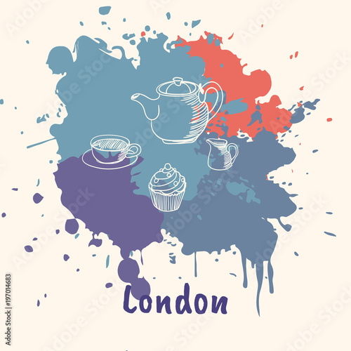 Fotobehang Vrouw gezicht Bright impressions in London. Tea time doodle sketched white on blue and red paint spots with splashes vector illustration. Travel in Europe. Emotive touristic concept with kettle, cup and cake