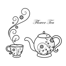 Teapot And Cup With Floral Design Elements.